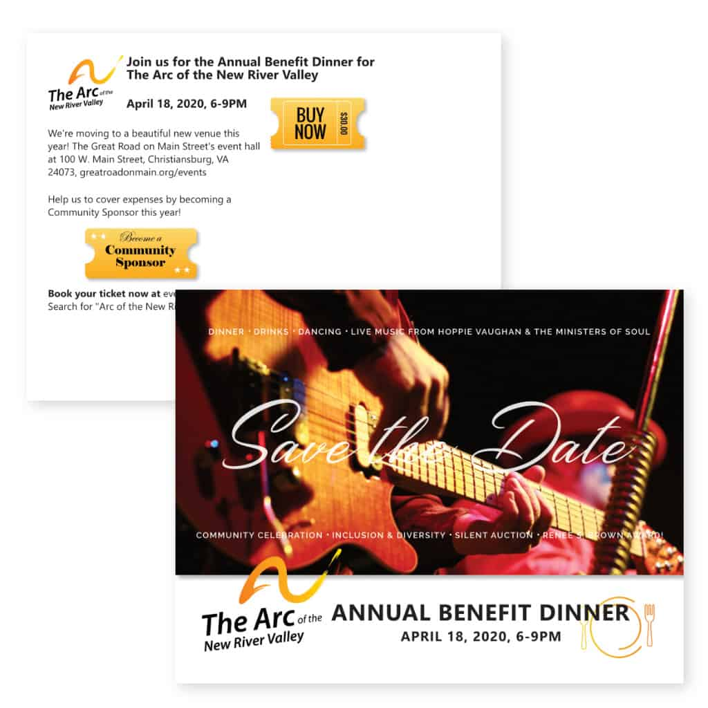 """The Arc of the New River Valley """"Save the Date"""" postcard"""