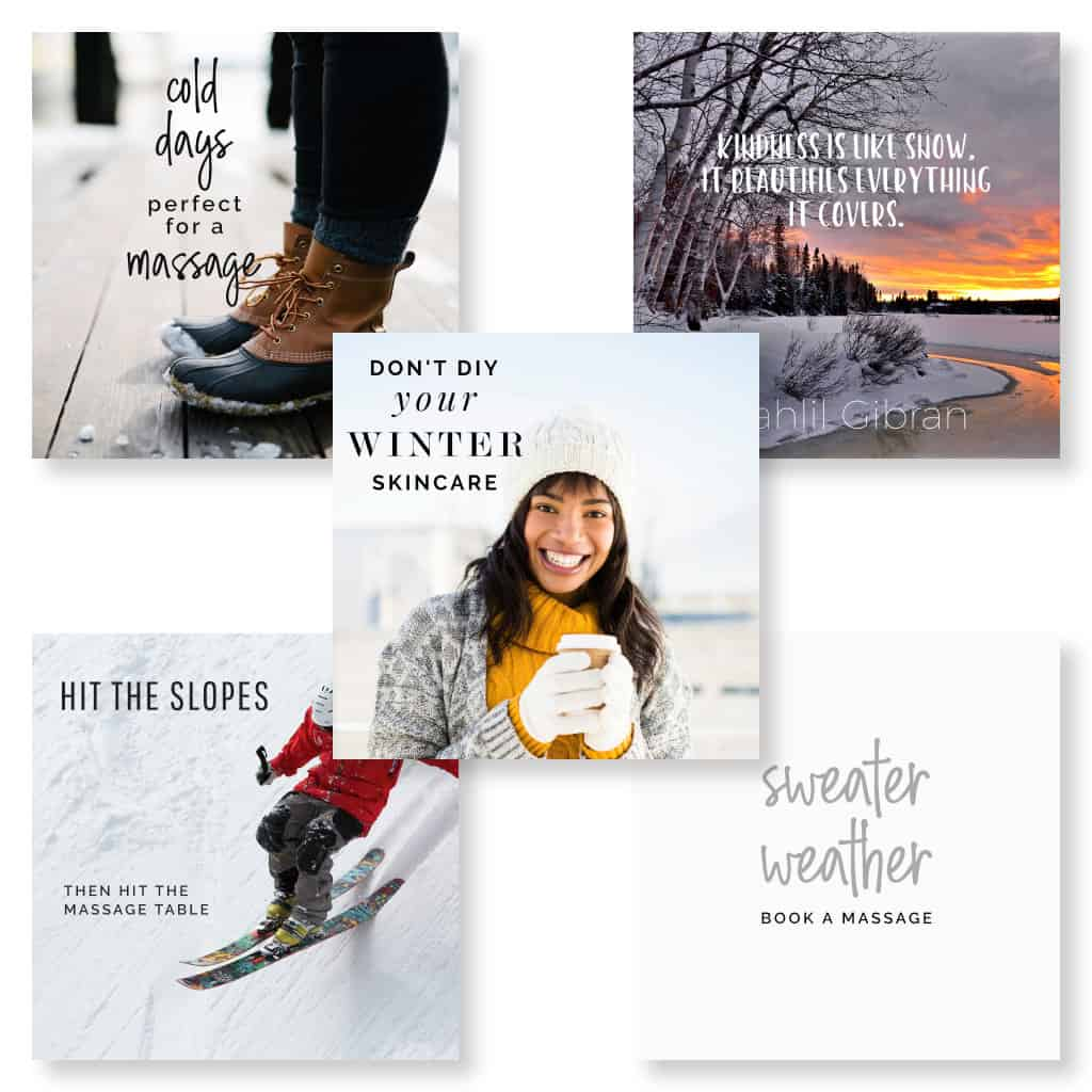 Social media images for marketing massage showing winter themes