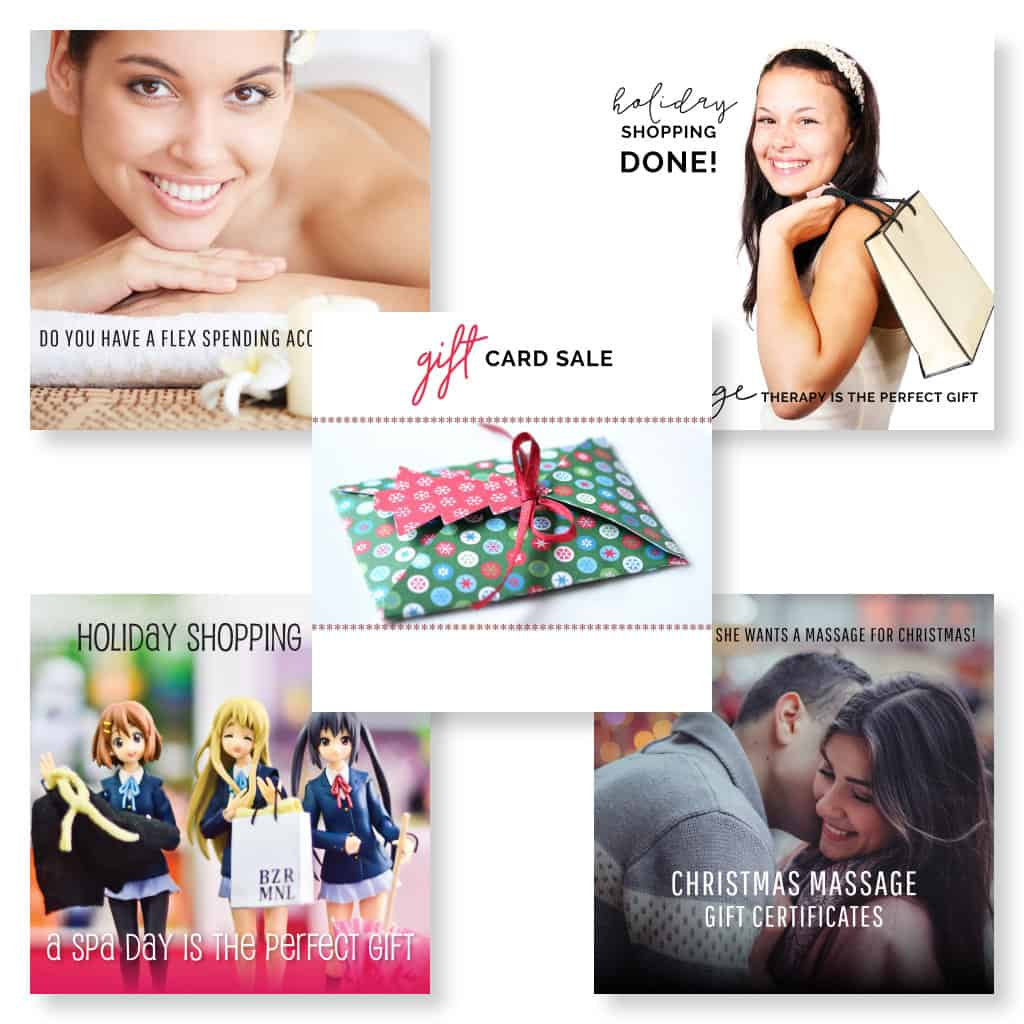 Social media images for marketing massage showing holiday shopping themes