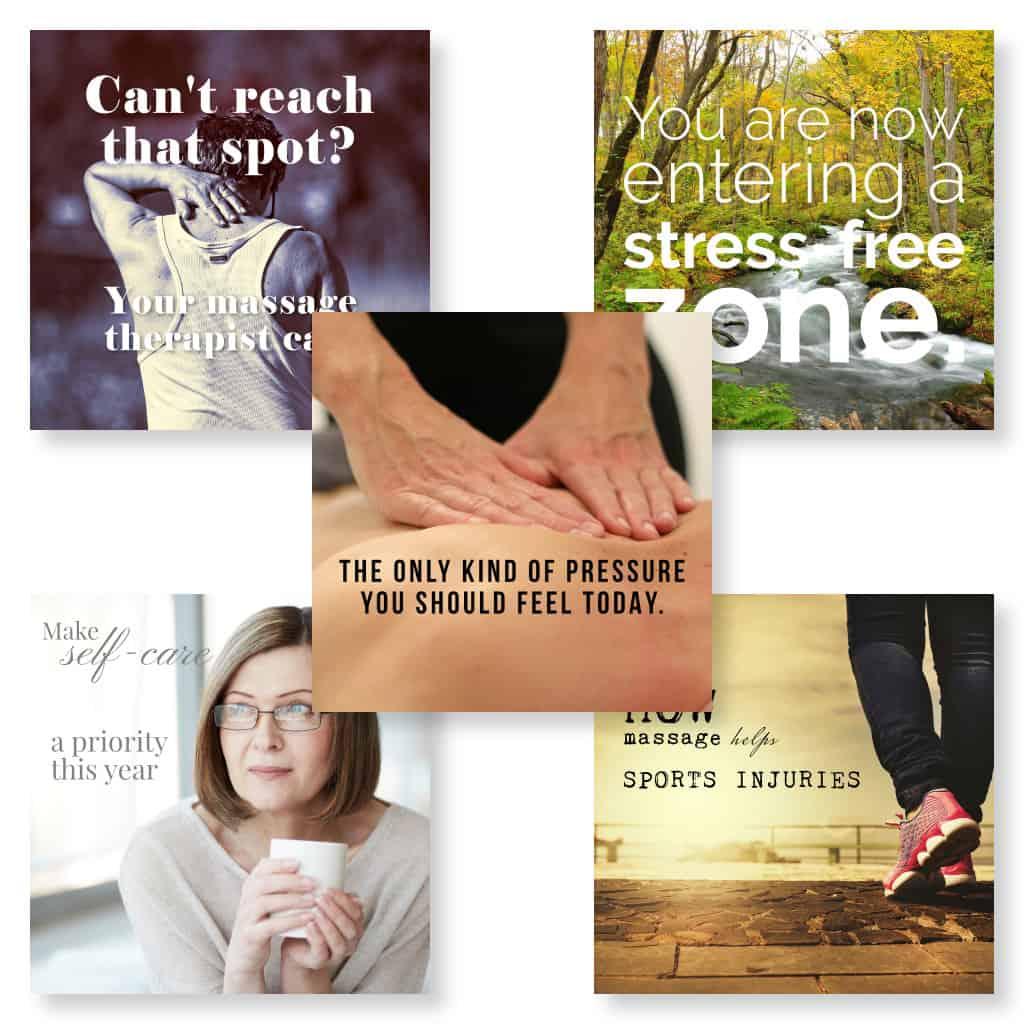 Social media images for marketing massage