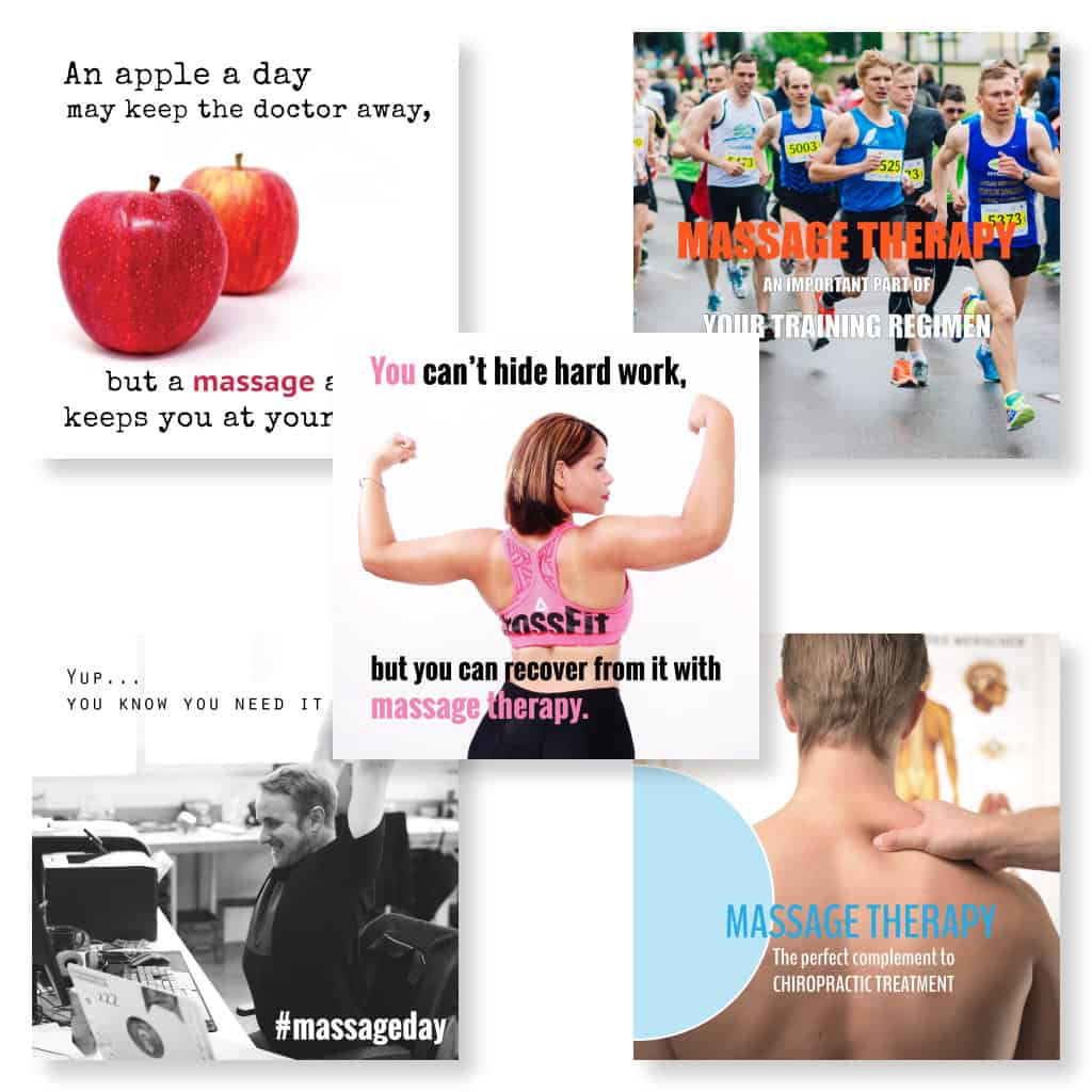 Social media images for marketing massage showing fitness and other themes
