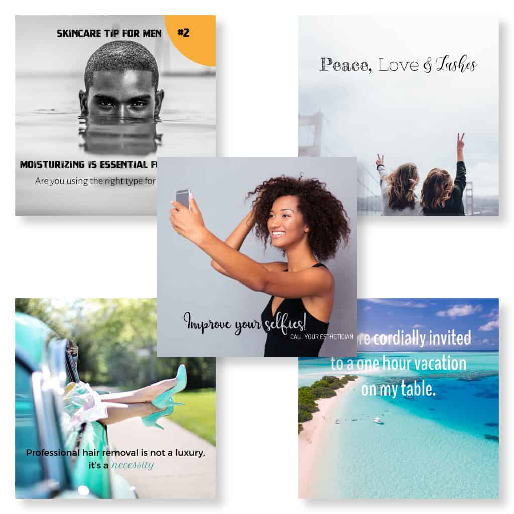 Social media images for marketing skincare and spa services